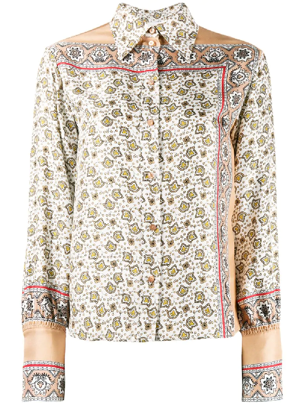 ee92aad7 Floral Paisley Print Silk Shirt Multicolor in White