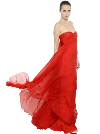 Alexander Mcqueen Draped Silk Chiffon Bustier Dress, Red