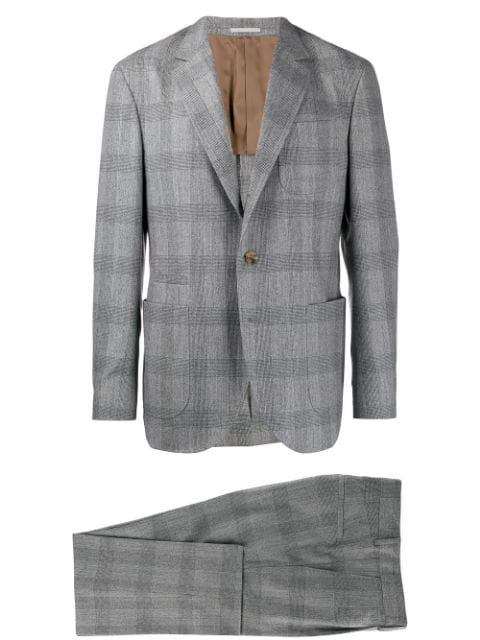 Brunello Cucinelli Check Two Piece Suit - Grey In C001 Grigio Medio