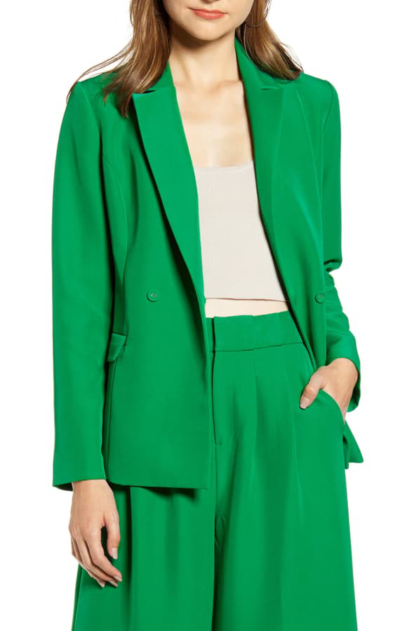 English Factory Tailored Double Breasted Blazer In Green