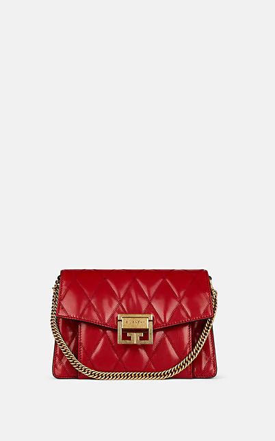 Givenchy Small Gv3 Diamond Quilted Leather Crossbody Bag - Red