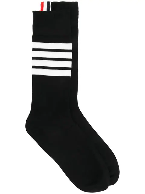 Thom Browne Black Cotton Socks With Four Stripes In 001 Black