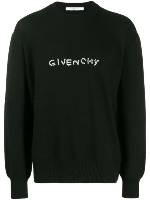 Givenchy Logo-Embroidered Wool Sweater In Black