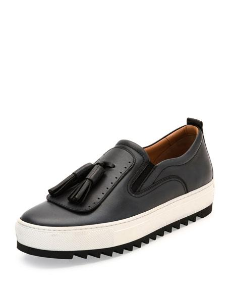 Salvatore Ferragamo Lucca Leather Sneaker With Oversized Tassels On Archival Sawtooth Sole, Dark Silver