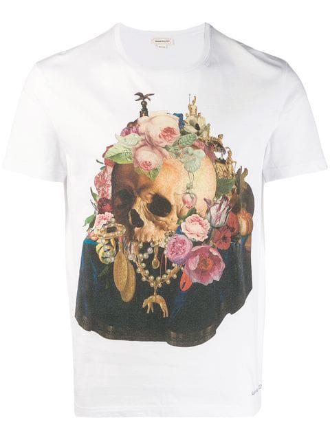 Alexander Mcqueen Still Life Skull-Print Cotton T-Shirt In White