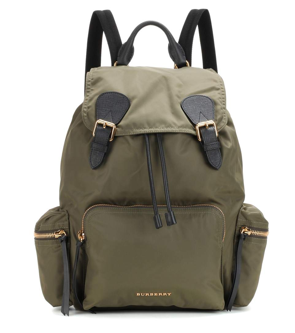Burberry The Large Leather-trimmed Backpack In Caevas Greee