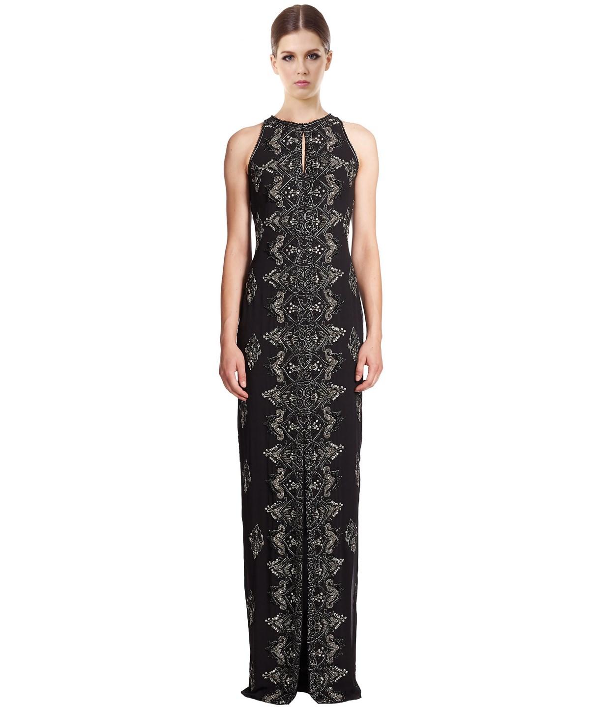 Badgley Mischka Embellished Keyhole Gown In Black
