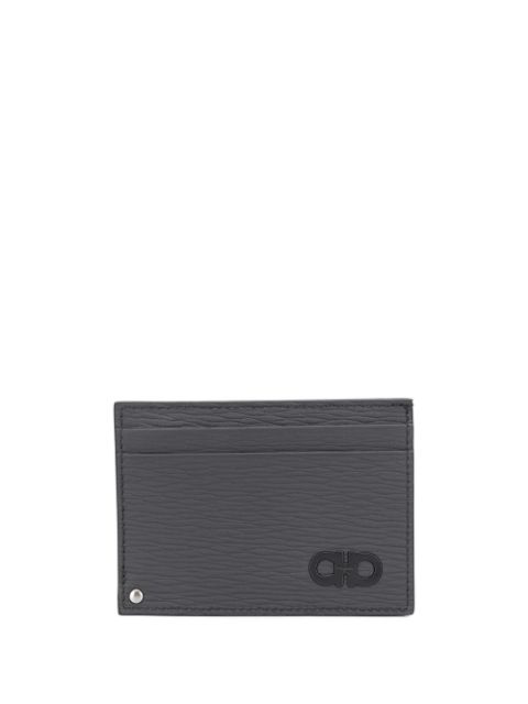 Salvatore Ferragamo Textured Logo Cardholder In Grey