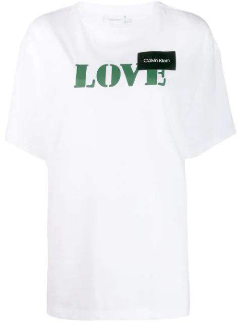 """Calvin Klein T-shirt Mit """"love""""-print In White"""