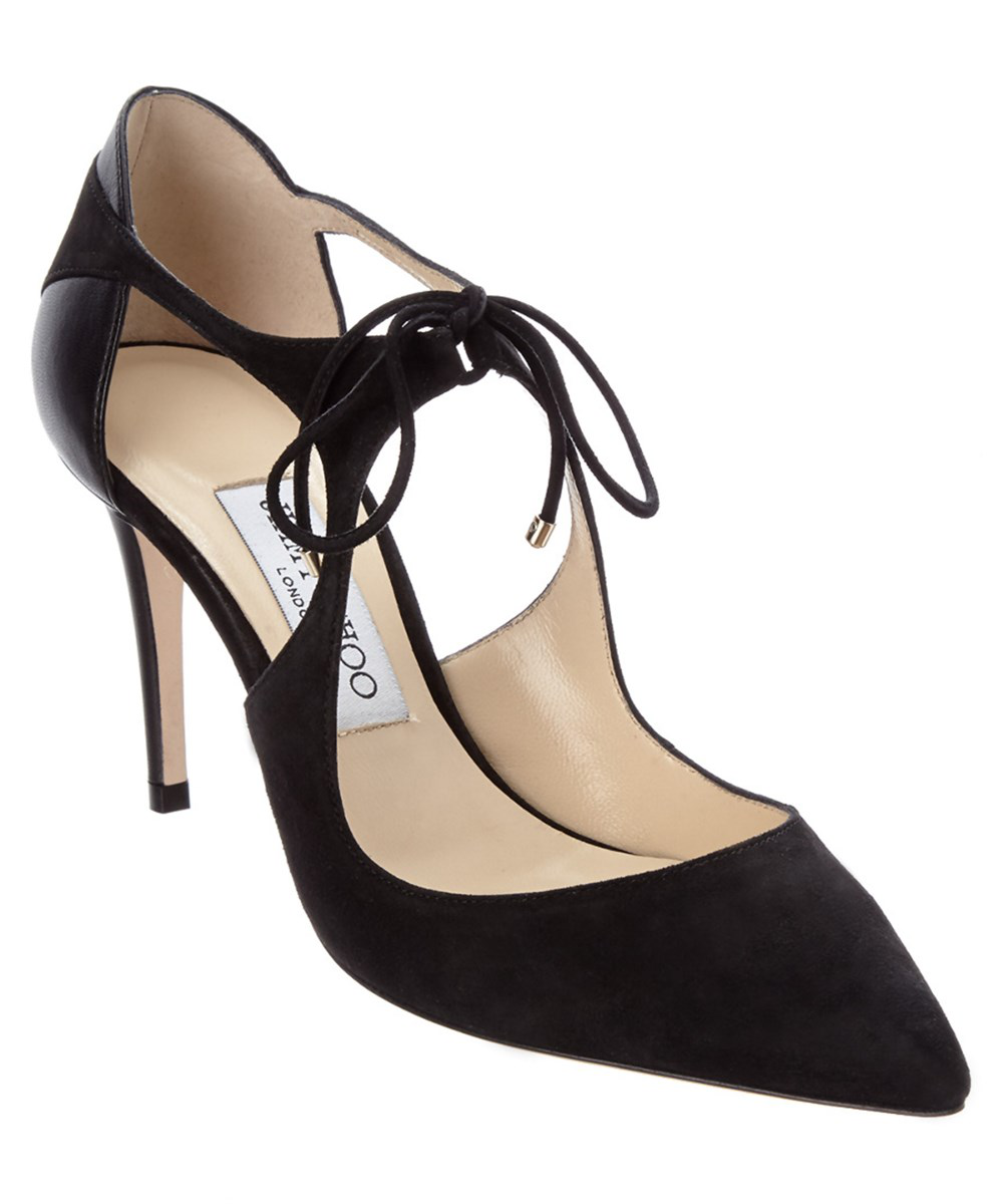 Jimmy Choo Vanessa 85 Suede & Nappa Leather Pointy-toe Pump In Black