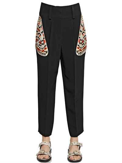 Givenchy Tapered Pants In Black Crepe With Butterfly Pockets