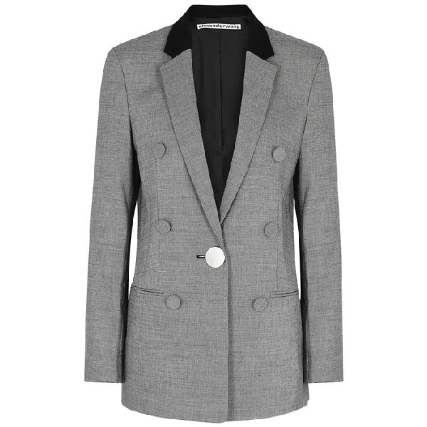 Alexander Wang Leather-Trimmed Houndstooth Wool Blazer In 940 Blk/Wht