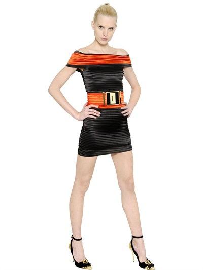Balmain Off The Shoulders Pleated Satin Dress In Black/Orange