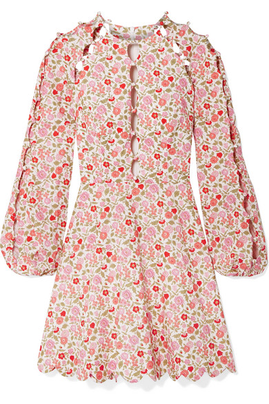 Zimmermann Goldie Cutout Floral-Print Linen And Cotton-Blend Mini Dress In Pink