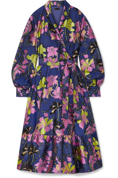 Stine Goya Niki Floral-jacquard Wrap Dress In Navy