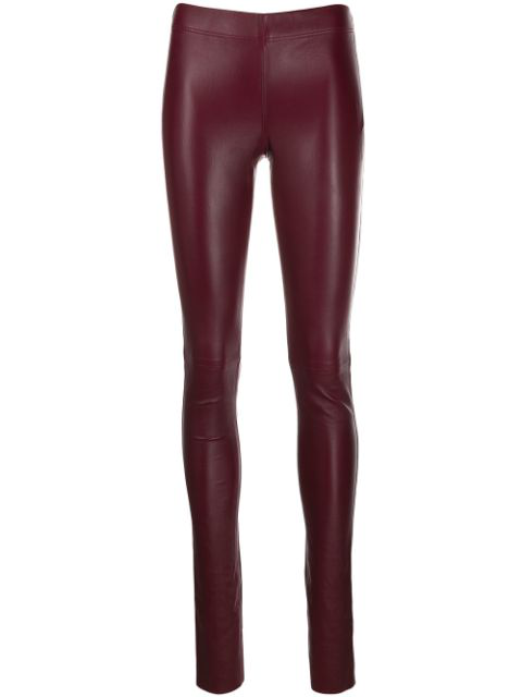 Joseph Stretch Leather Leggings In Red