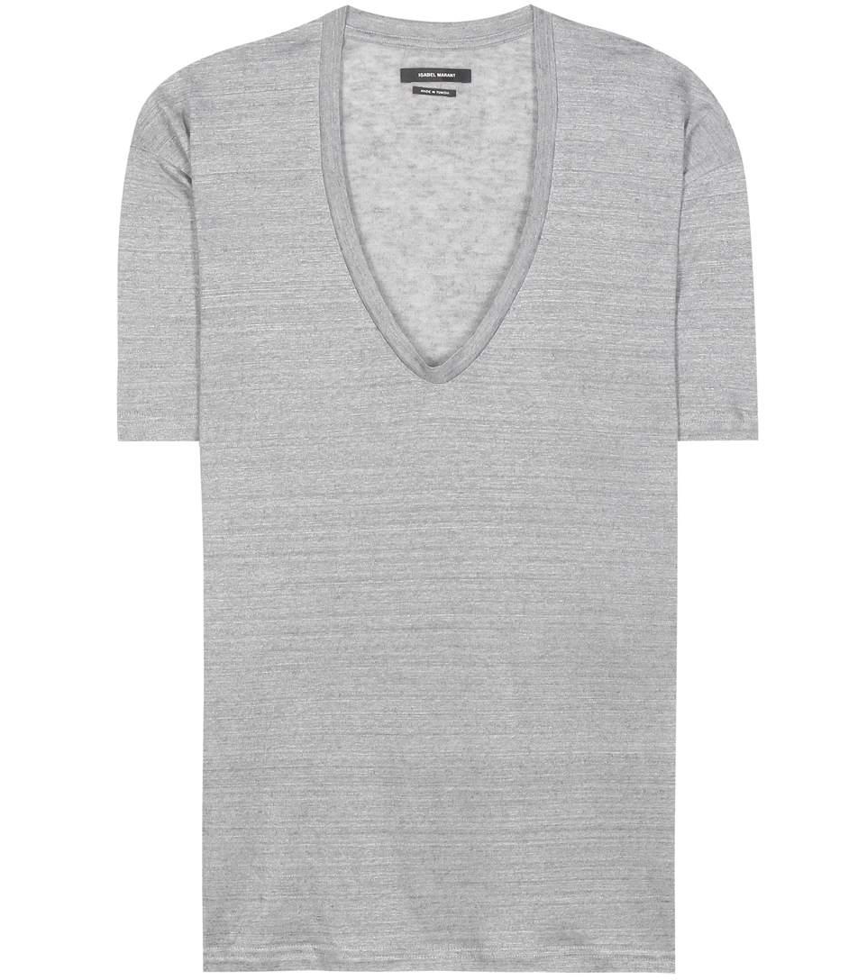 Isabel Marant Maree Linen T-shirt In Light Grey