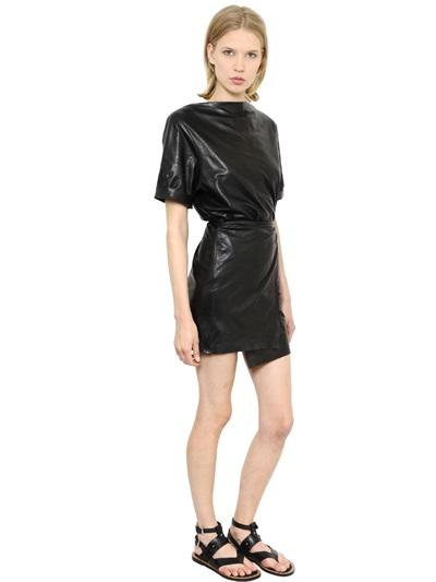 Isabel Marant Woman Falco Wrap-Effect Leather Mini Dress Black