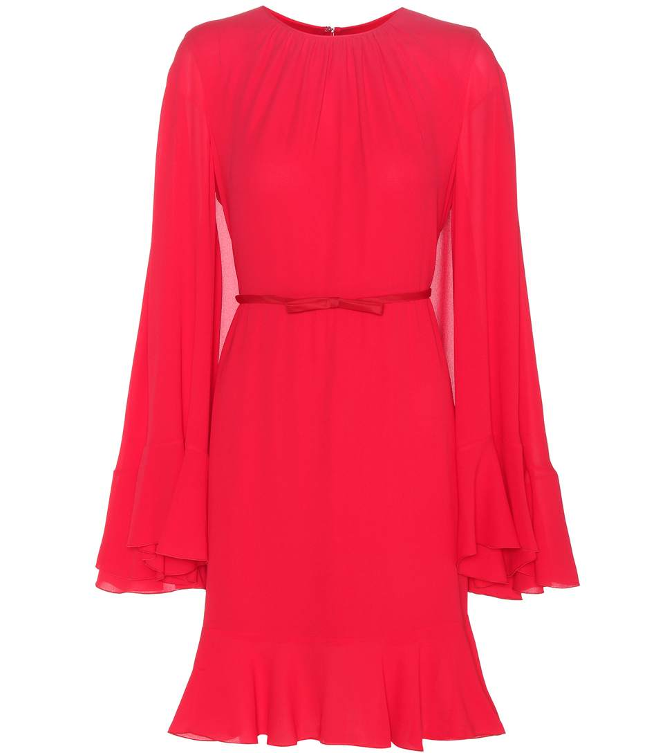 Giambattista Valli Gathered Neck Belted Dress In Red
