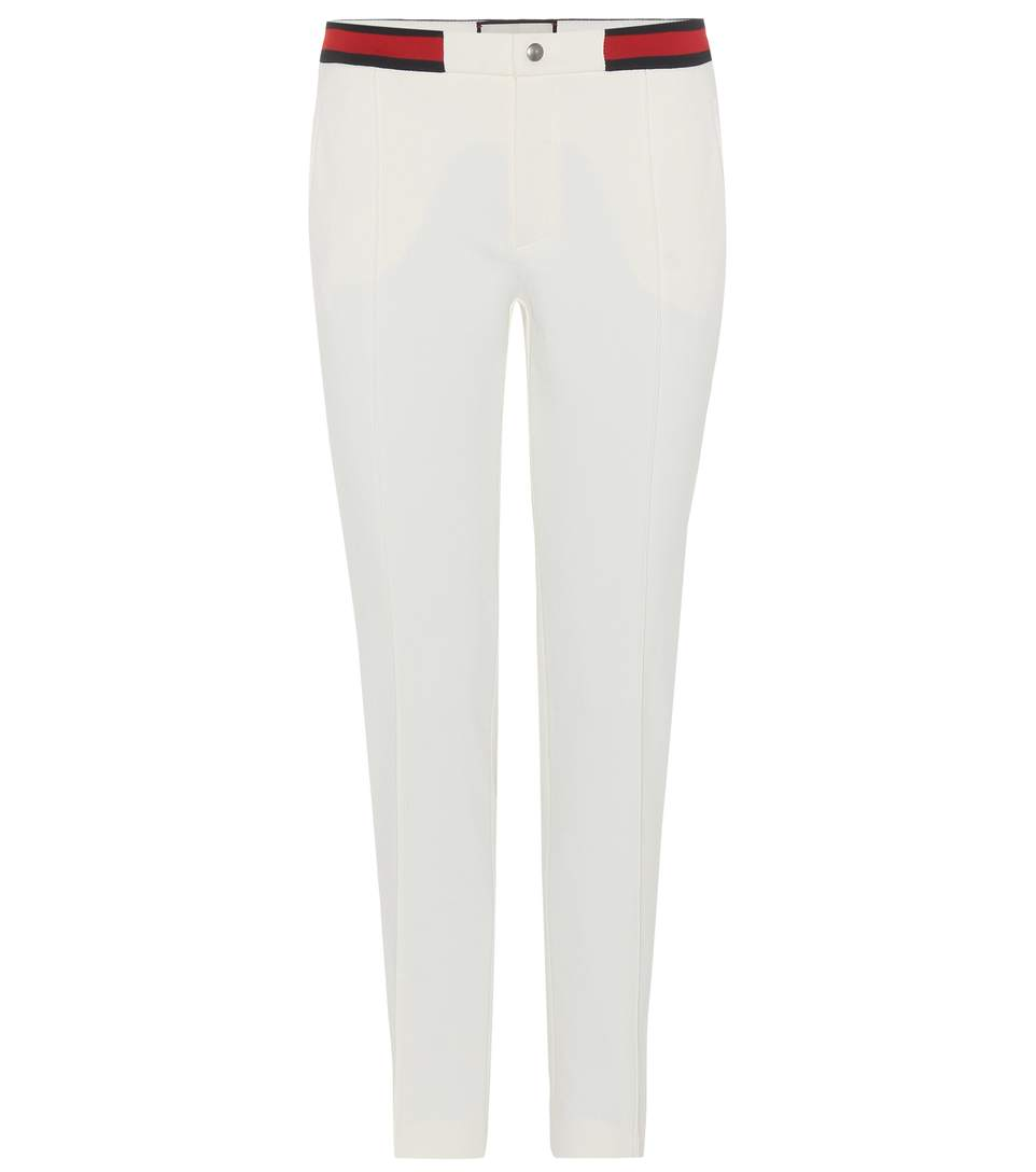 Gucci Cropped Twill Slim-leg Pants In White