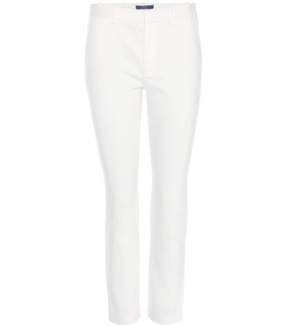 Polo Ralph Lauren Cropped Cotton-blend Trousers In Chic Cream