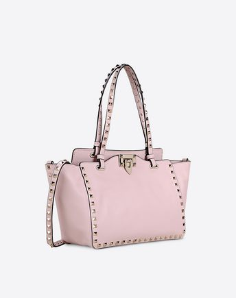 Valentino Rockstud Small Double Handle Bag In Light Pink
