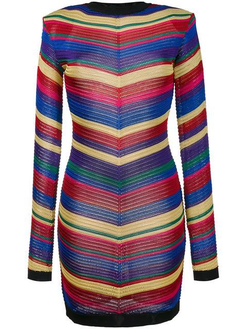 Balmain Long-sleeve Chevron-knit Dress, Multi, Multi Colors