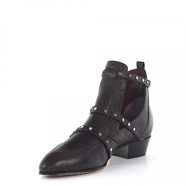 Jimmy Choo Ankle Boots Calfskin Rivets Bordeaux In Red