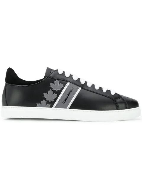 Dsquared2 Low-Top Sneakers Canadian Team  Calfskin Logo Black