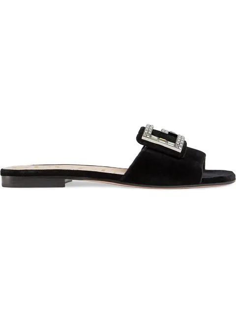 Gucci Mules Madelyn  Canvas Logo Strass Black