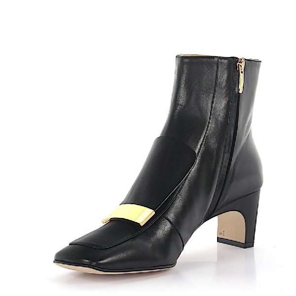 Sergio Rossi Ankle Boots Nappa Leather Logo Metal Decorations Black