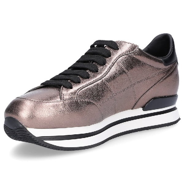 Hogan Low-Top Sneakers Smooth Leather Logo Bronze In Brown