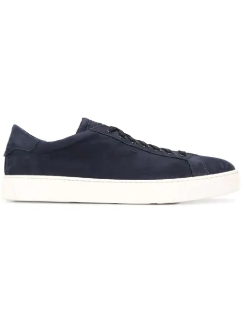 Santoni Quilted Suede Sneakers In Blue