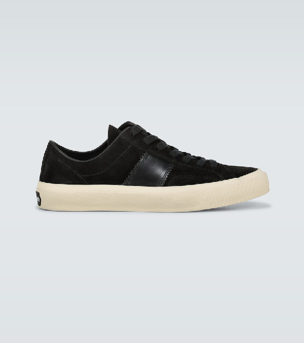 Tom Ford Cambridge Leather-trimmed Suede Sneakers In Black