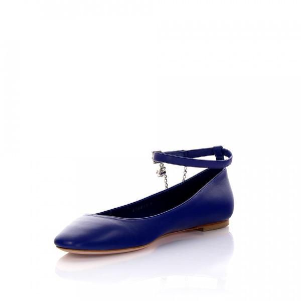 Alexander Mcqueen Ballerinas Ankle Strip Nappa Leather Blue