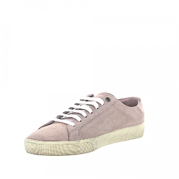 Saint Laurent Low-Top Sneakers Calfskin Suede Logo Lilac Rose In Pink