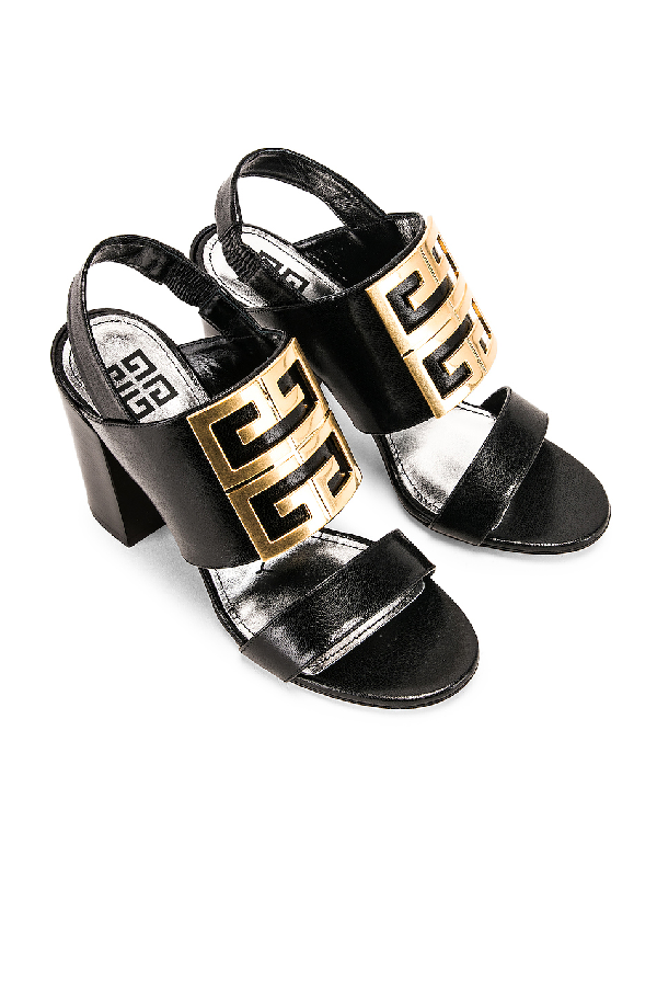 Givenchy Sandals Be302 Calfskin Logo Black