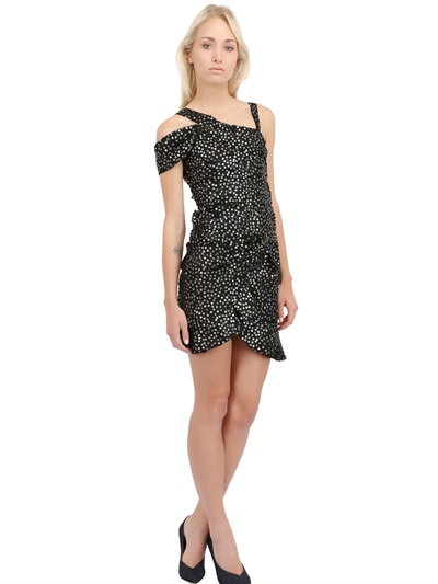 Isabel Marant Sequined Silk Organza Draped Dress In Black/Silver