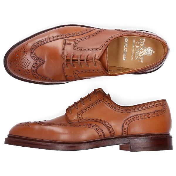 Crockett & Jones Business Shoes Derby Cordovan Leather Hole Pattern Brown