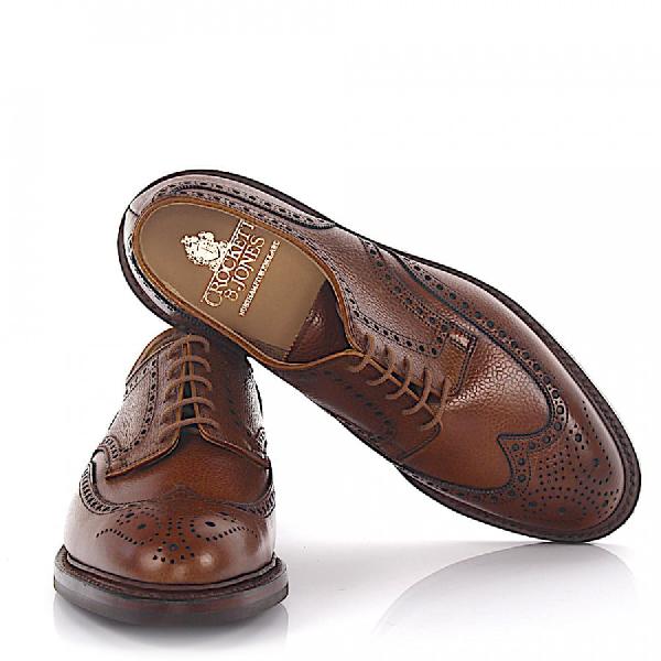 Crockett & Jones Business Shoes Calfskin Scotchgrain Leather Hole Pattern Brown