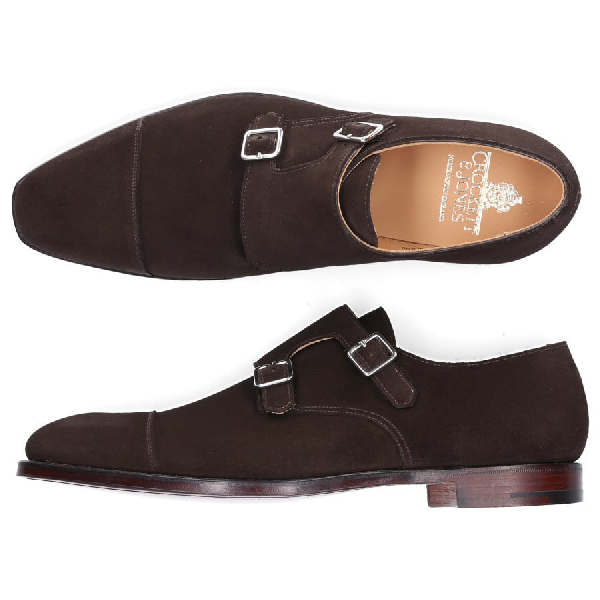 Crockett & Jones Double Monk Lowndes Suede Brown