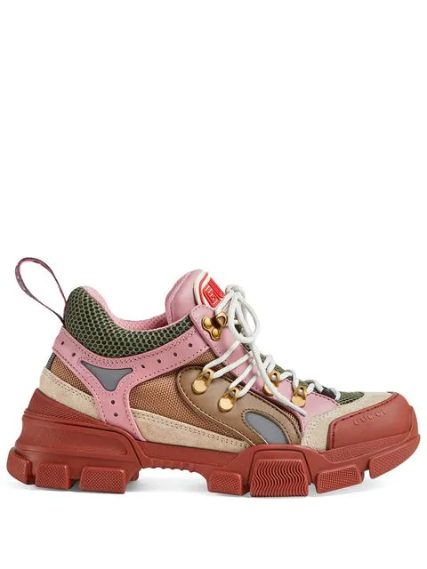Gucci Low-Top Sneakers Flashtreck  Calfskin Scotchlite Suede Logo Bordeaux Khaki Light Grey Pale Pink In Multicolour