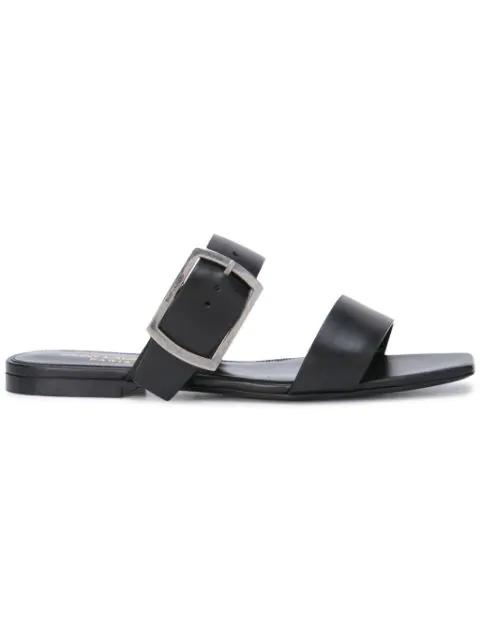 Saint Laurent Oak Buckled Leather Sandals In Black