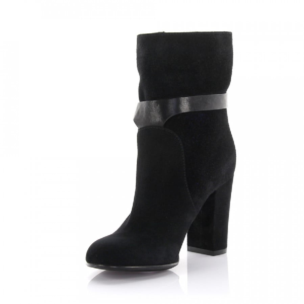 Sergio Rossi Ankle Boots Calfskin Suede Metal Decorations Black