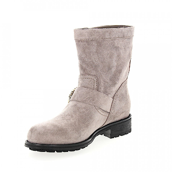 Jimmy Choo Ankle Boots Youth Calfskin Suede Beads Metal Decorations Grey