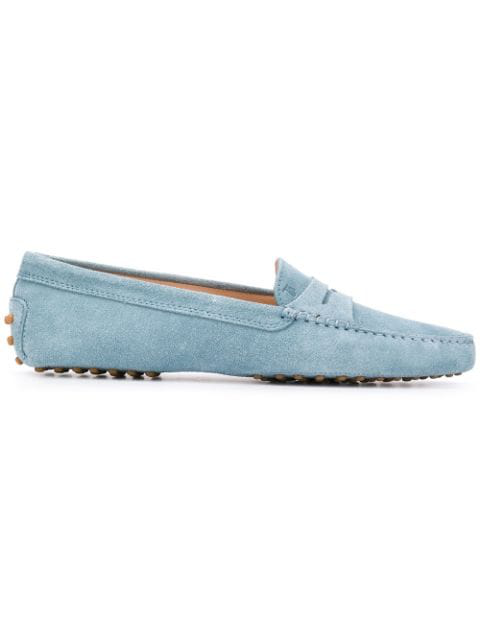 Tod's Moccasins 00g000 Suede Logo Light Blue In T002aquamarinoscuro