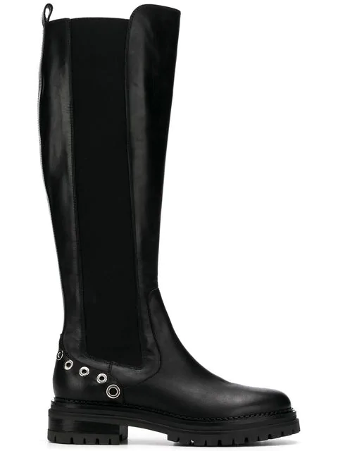 Sergio Rossi Boots A82960  Smooth Leather Metallic Black