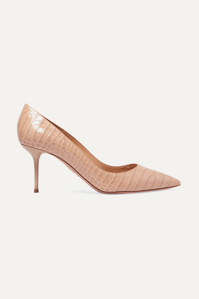 Aquazzura Purist 75 Crocodile-effect Leather Pumps In Beige