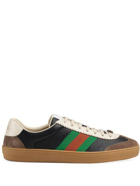 Gucci Low-Top Sneakers 521681 Smooth Leather Suede Textile Logo Black-Combo