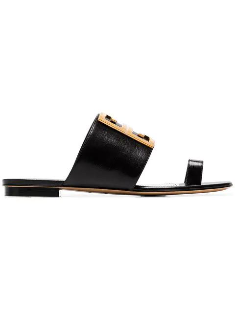 Givenchy Flip Flops 3025 Calfskin Logo Metallic Black